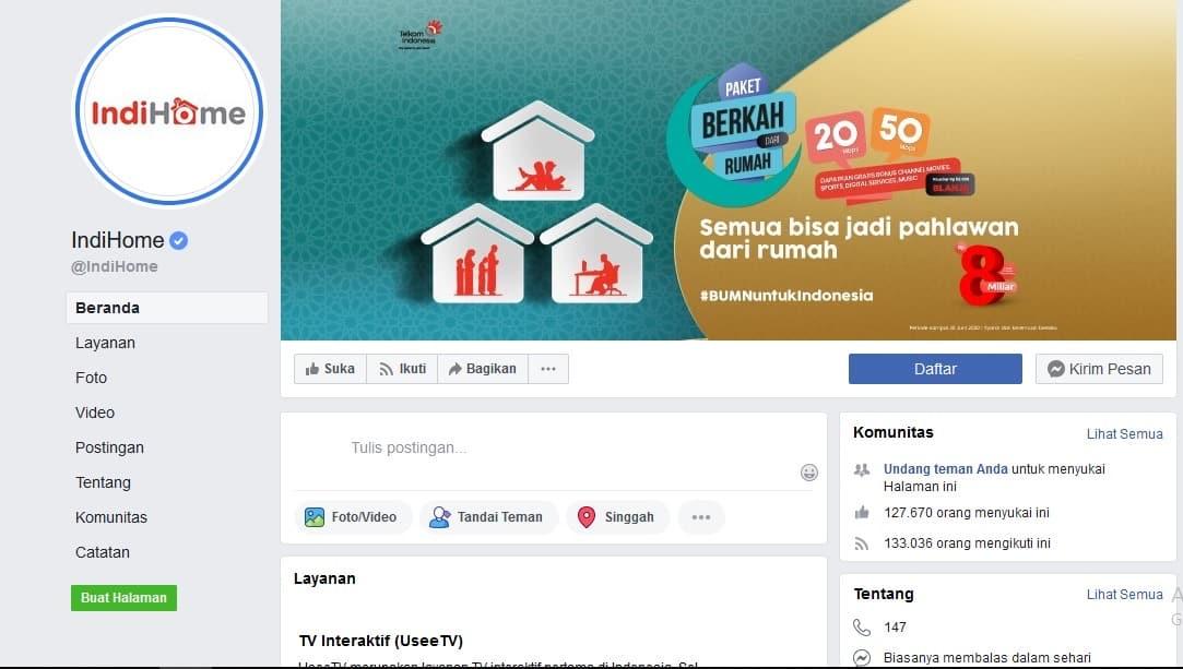 Fanspage facebook Indihome