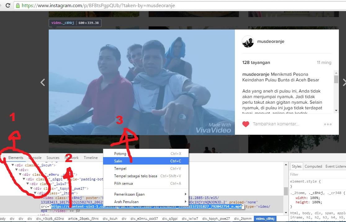 cara download gambar di IG