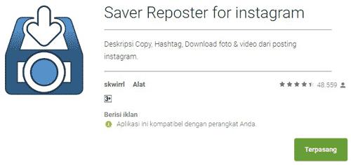 Unduh gambar IG menggunakan Saver Reposter