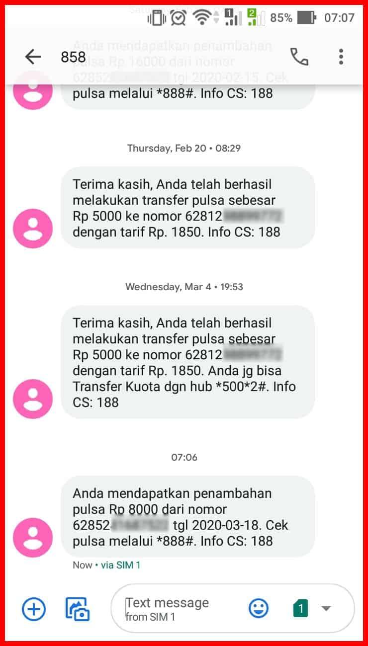 trasnfer pulsa telkomsel menggunakan sms